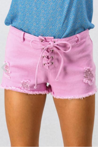 denim shorts lace front