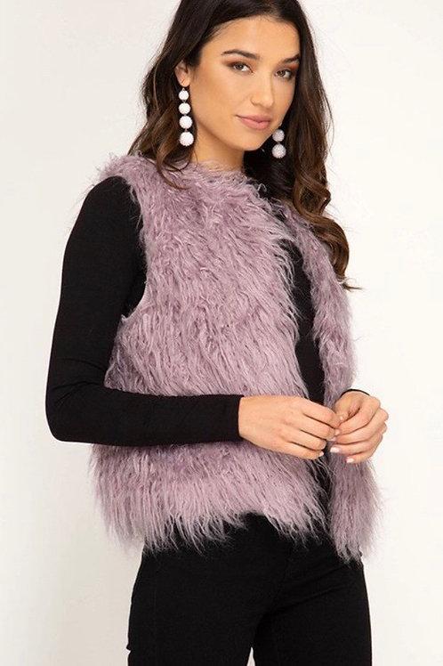 Lila Faix Fur Vest