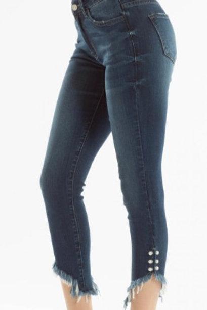 Kancan Pearl Detail Capri Jeans