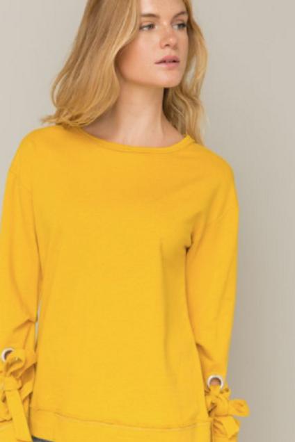 Marigold Detail Sleeve Sweatshirt