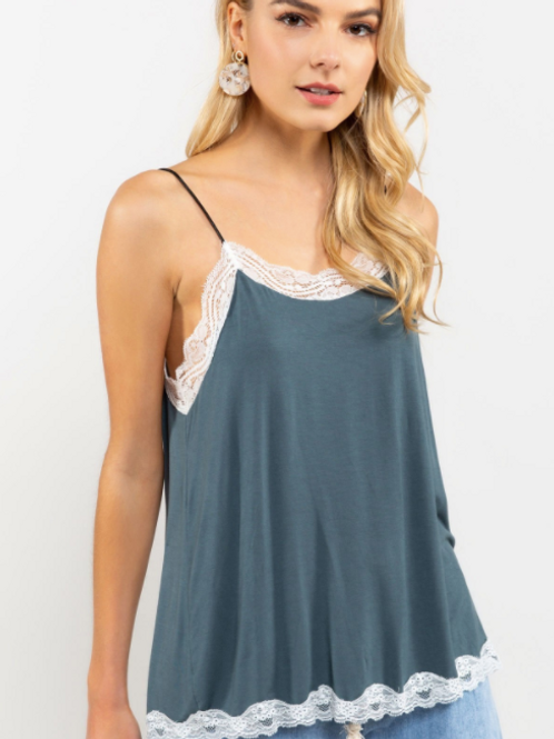 flowy cami with lace