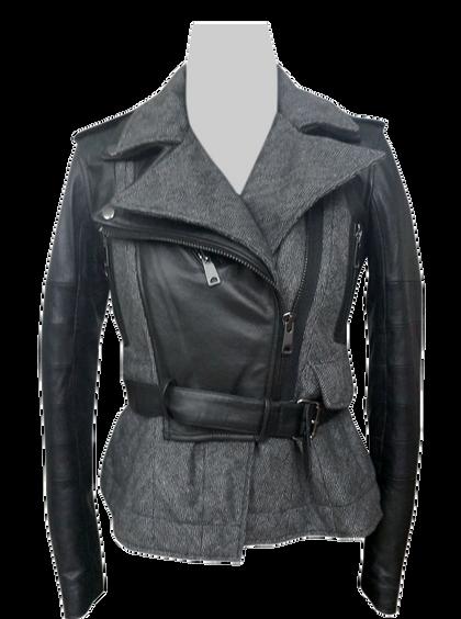 Leather Wool Tweed Fabric Mix Jacket