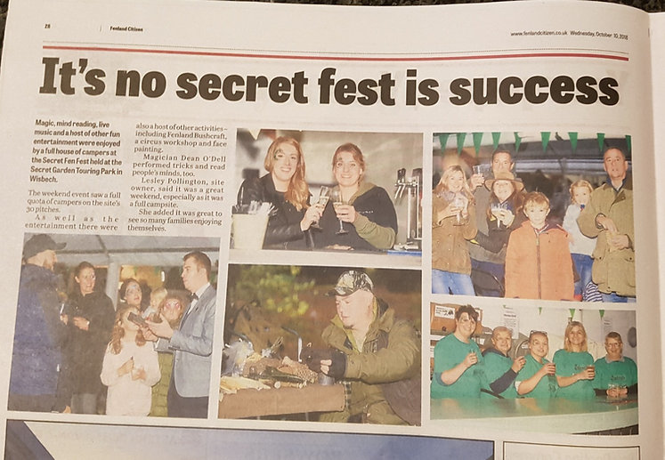 Article from the local paper covering the Secret Fen Fest