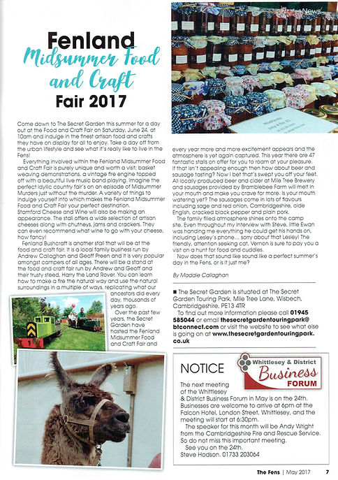 Article about the Secret Garden from Fenland Magazine