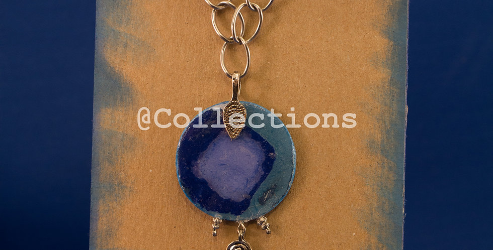 blue sandpapered paper necklace