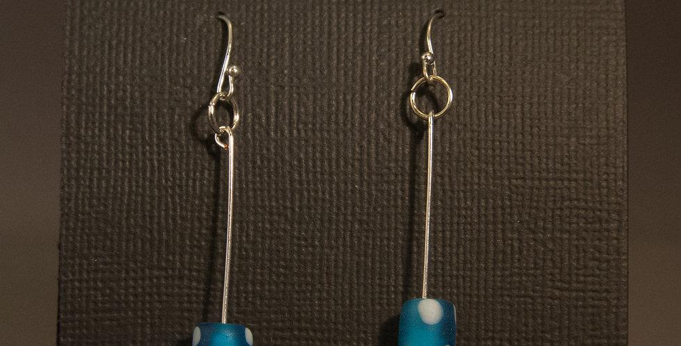 blue white spots earrings