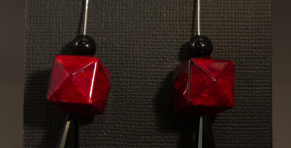 red cube earrings