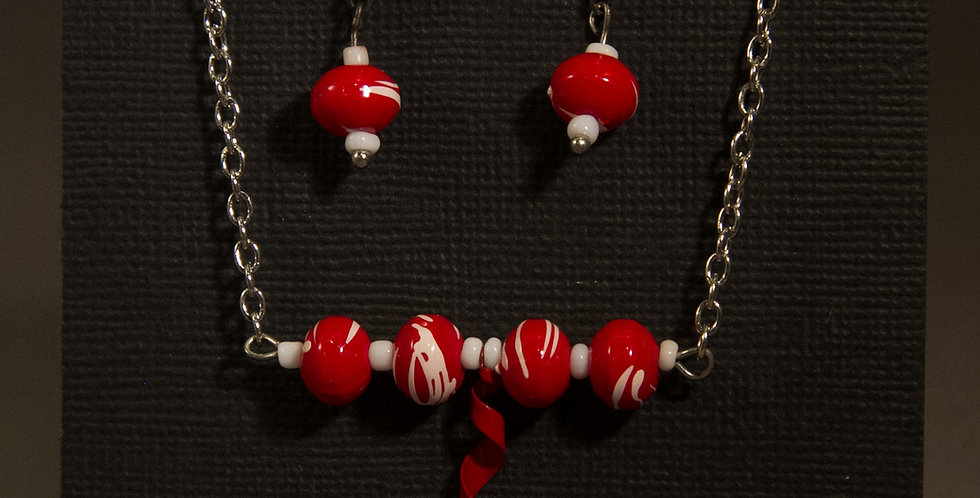 RED and white BEAD BAR