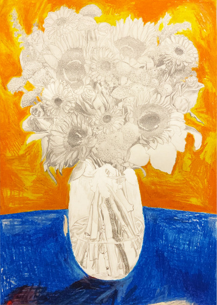 Orange Vase, Blue Flowers
