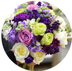 Purple and Green Bridal Bouqet