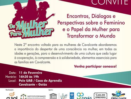 """Convite segundo encontro """"De Mulher para Mulher"""""""