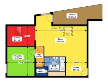 Waltenheim proche Sierentz : Appartement F2/F3 de 63m² avec belle terrasse de 14m²