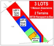 Terrain de 5,41 ares lot 2 libre de constructeur exposition plein sud 68730 Ranspach-le-Bas