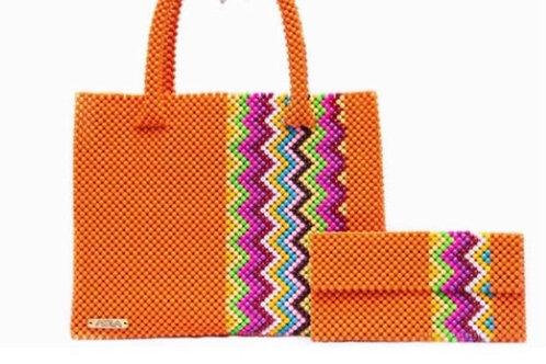 Multi colour wave strip bag and purse set