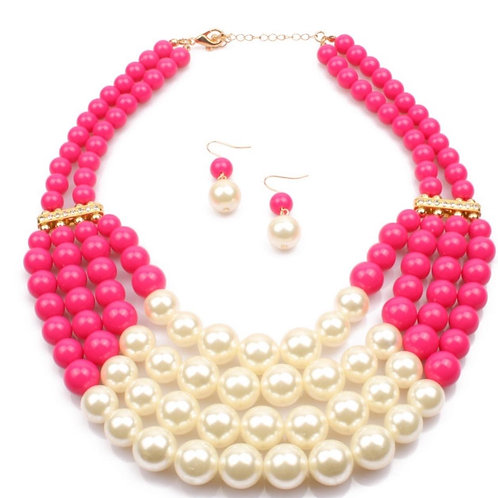 Pearls and Colour Multi-strand Jewellery set