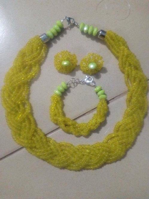 One colour braided multi-strand Jewellery Set