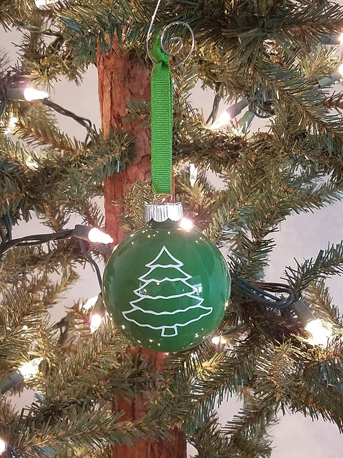 White Christmas Tree on Glass Ornament
