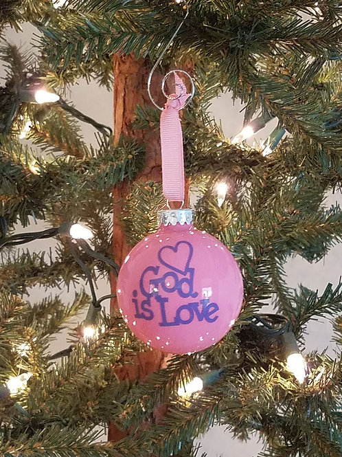 God is Love Glass Ornament