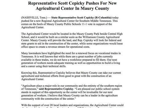 Representative Scott Cepicky Pushes for new Agricultural Center in Maury County