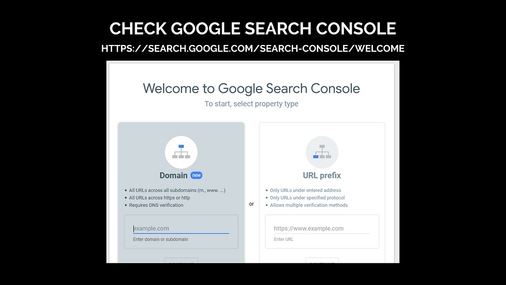 A screenshot of Google Search Console home page