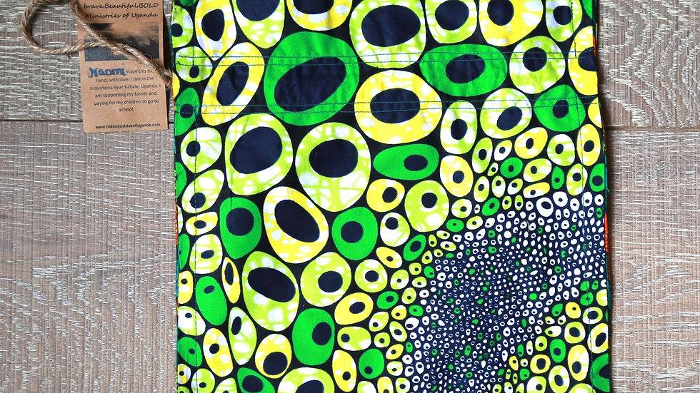 Green Circle African Print Draw-String Bead Bag