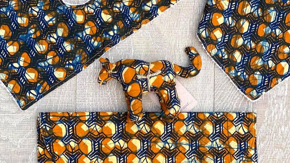African Baby Travel Set (orange-blue)