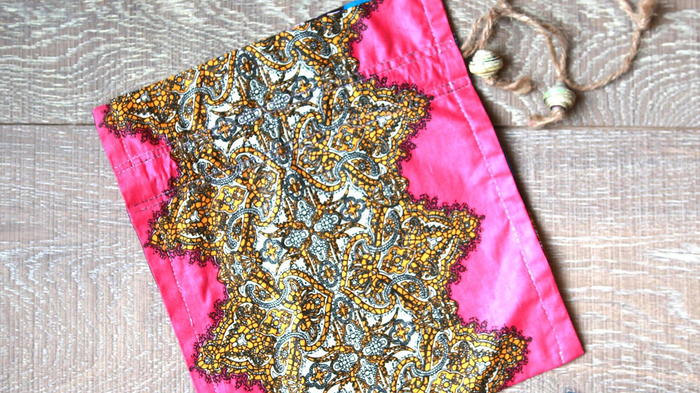 Royal African Print Draw-String Bead Bag