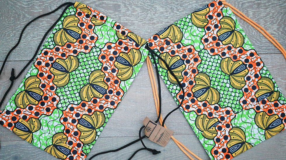 Banana African Print Draw-String Knapsack