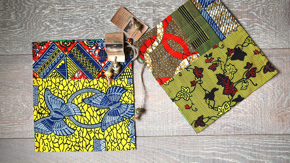 Butterfly-Vine African Print Draw-String Bead Bag
