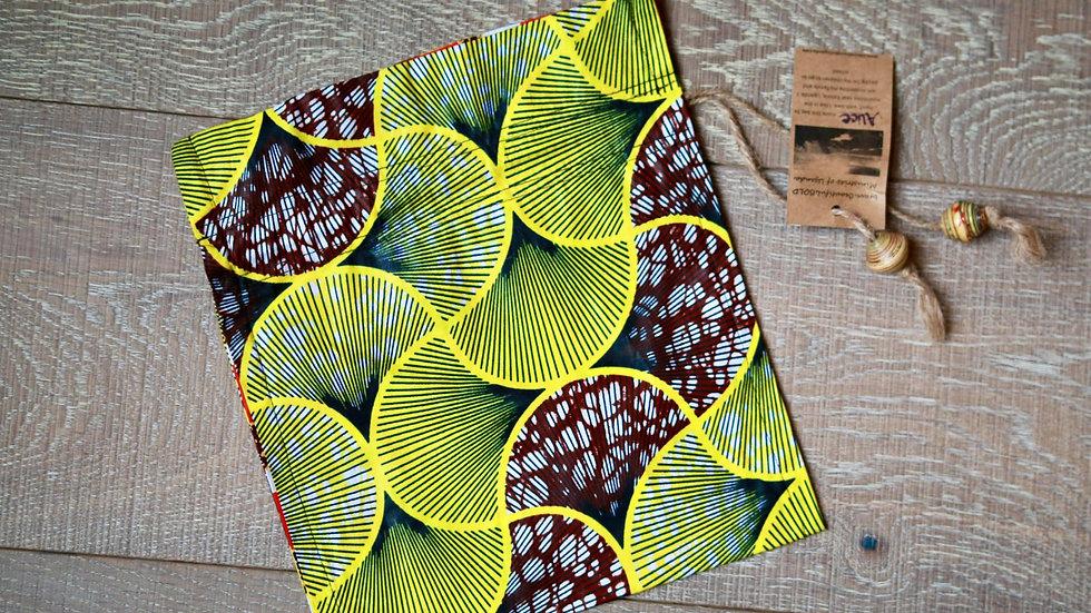 Yellow-Green Swirl African Print Draw-String Bead Bag