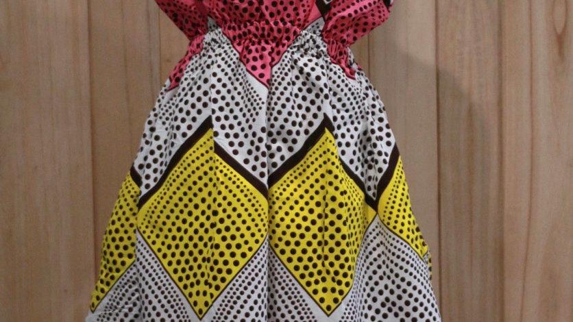 Sleeveless Women's Dress, Colorful Polka Dots