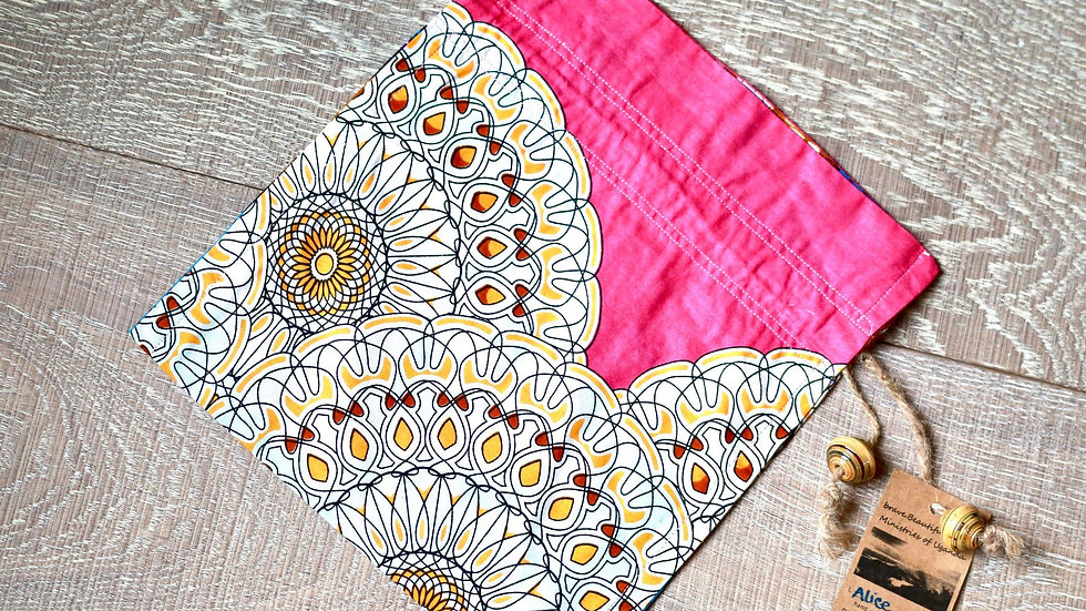 Pink Sunflower African Print Draw-String Bead Bag