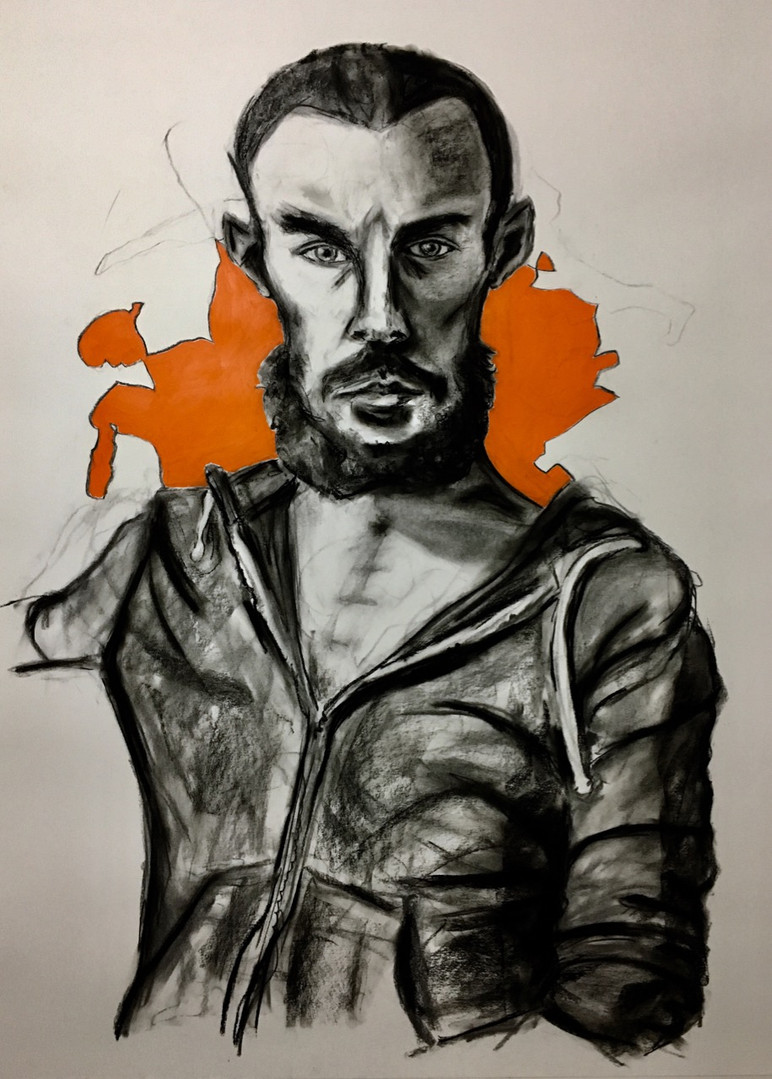 2019, Kristian, Charcoal and Oil Stick
