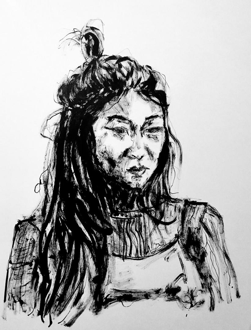 2018, Hany, 100 Strangers, ink