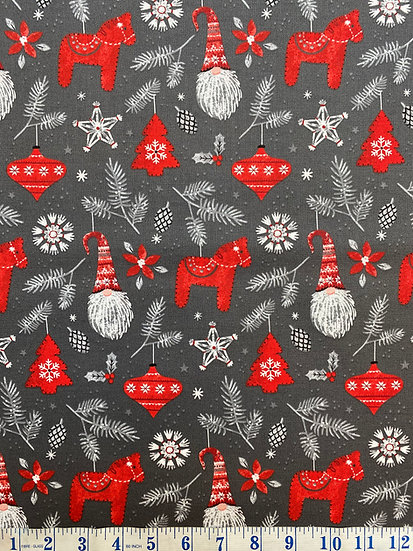 Christmas Hanging with my Gnomies Ornaments Festive 100% Cotton Fabric