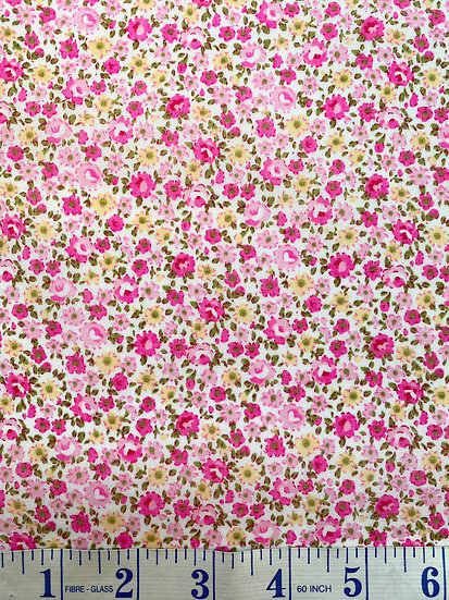 Pink & Yellow Ditsy Floral Polycotton