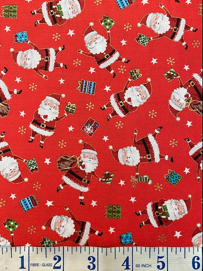 Red Father Christmas Festive Fabric 100% Cotton