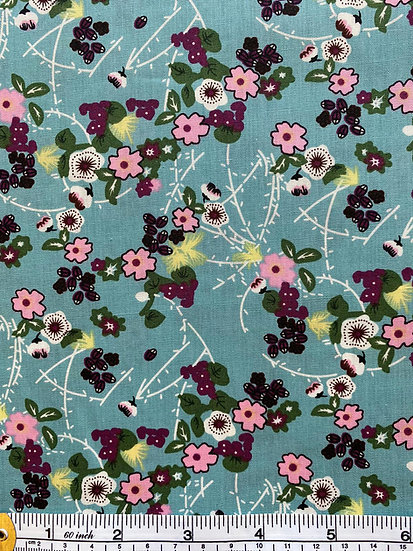Blue Ditsy Floral Cotton Fabric