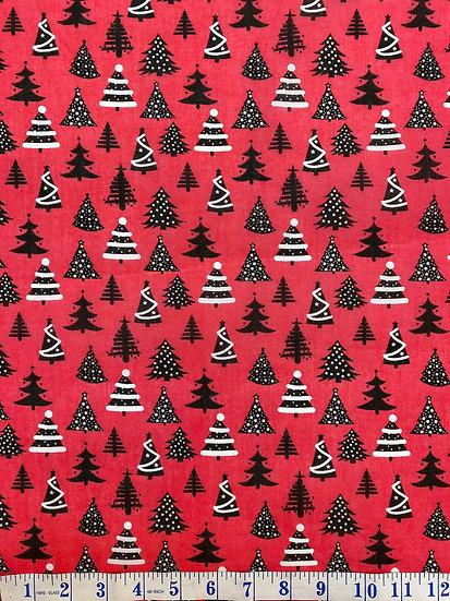 Red Christmas Tree Polycotton