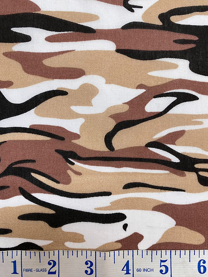Camouflage Brown Polycotton Fabric