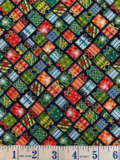 Christmas Present Festive Fabric 100% Cotton