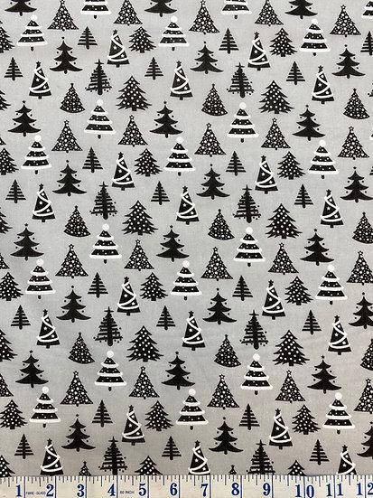 Grey Christmas Tree Polycotton