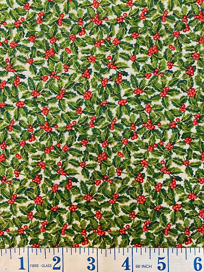 Traditional Holly Christmas Fabric 100% Cotton