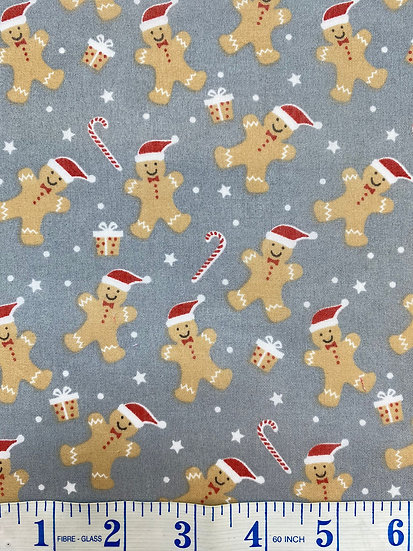 Grey Gingerbread & Candy Cane Polycotton Fabric