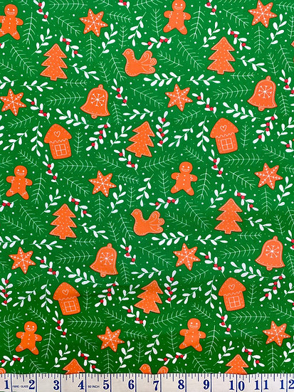 Green Gingerbread & Mistletoe Polycotton Christmas Fabric