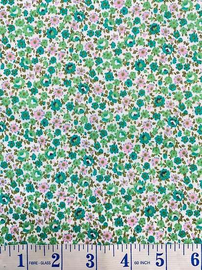 Green & Pink Ditsy Floral Polycotton