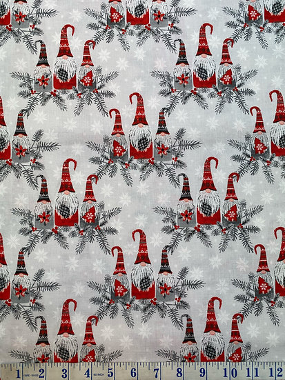 Christmas Hanging with my Gnomies - Three Wise Gnomes Festive Fabric 100% Cotton