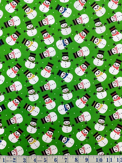 Green Snowman Polycotton Christmas Fabric