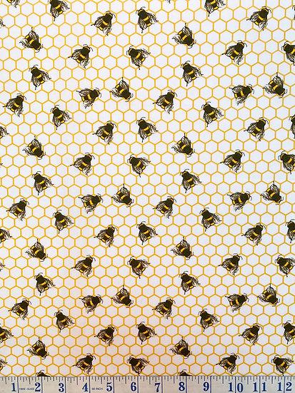 White Bee Cotton Poplin Fabric