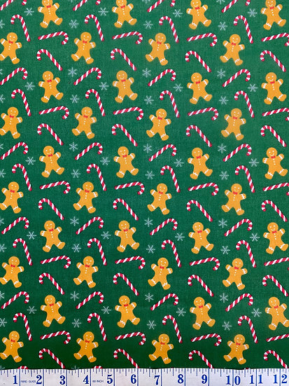 Green Gingerbread Candycane Polycotton Fabric